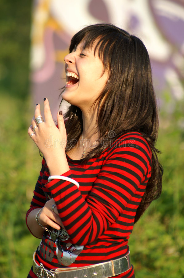 Laughing out loud stock image