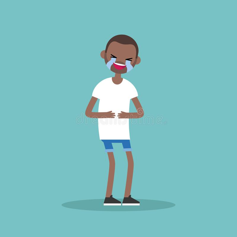Laughing out loud black man / flat illustration. Clip art vector illustration
