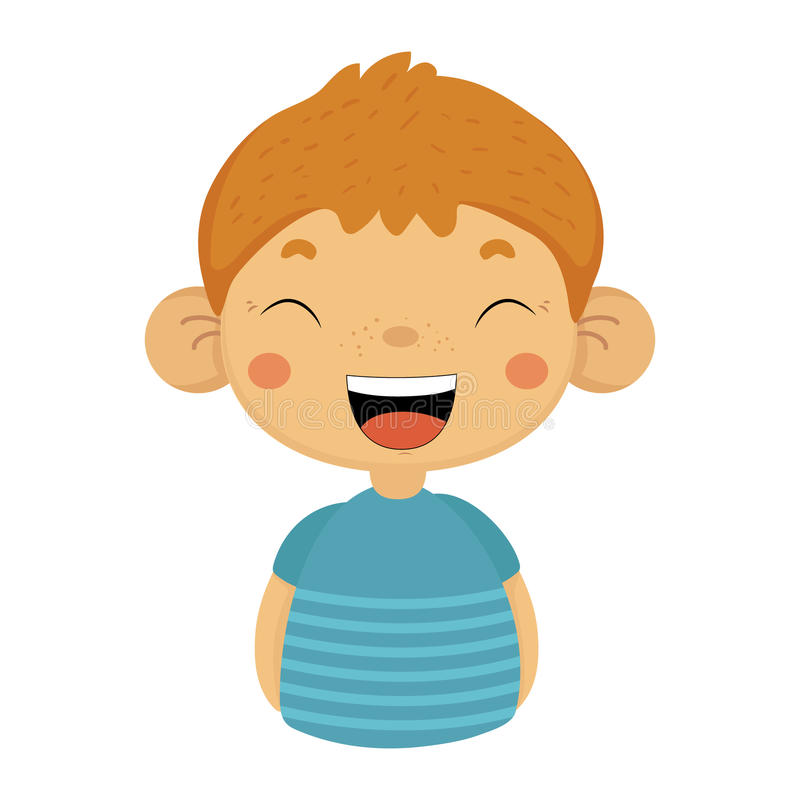 Laughing Out Loud Cute Small Boy With Big Ears In Blue T-shirt, Emoji Portrait Of A Male Child With Emotional Facial. Expression. Emoticon With Little Kid royalty free illustration