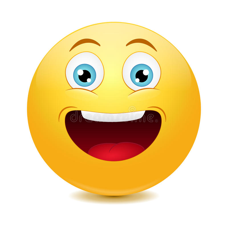 Laughing out loud emoticon. Vector stock illustration