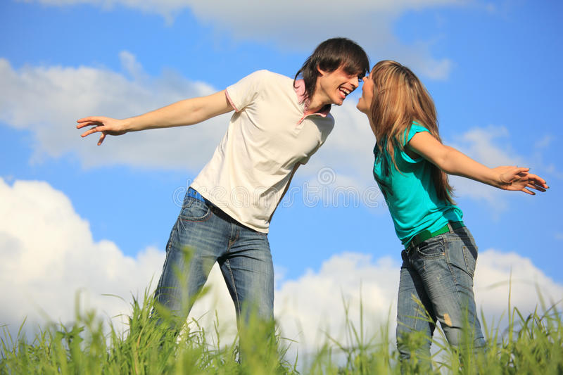 Download Laughing Pair Looks Against Each Other Against Sky Stock Photo - Image of enjoyment, love: 10355162
