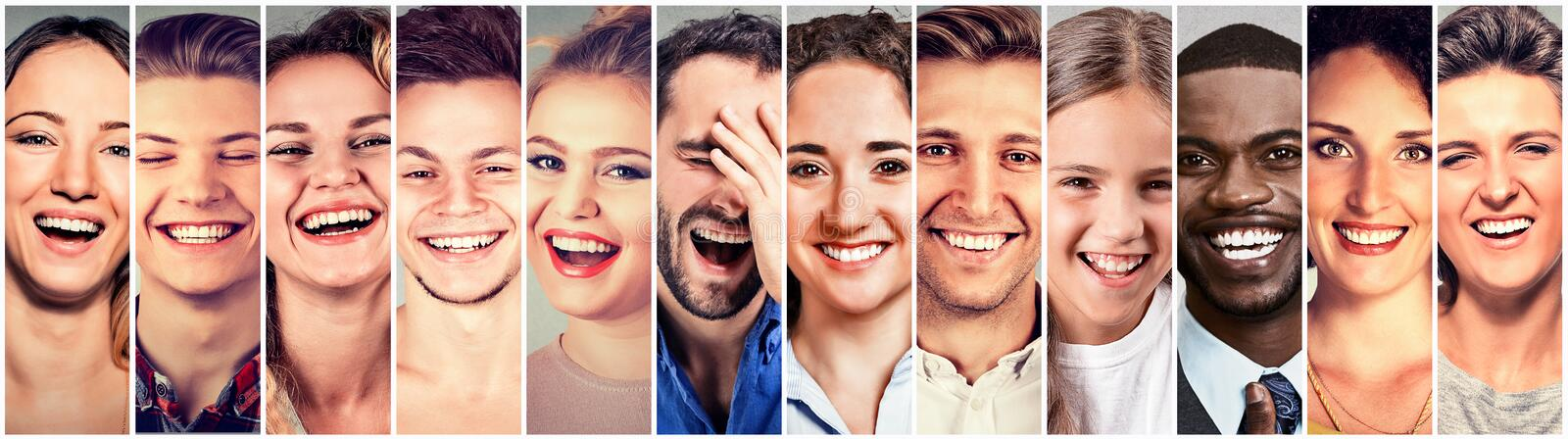 Laughing people. Group happy men, women, children royalty free stock image