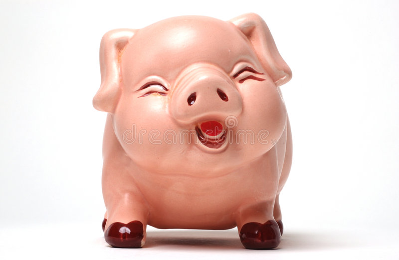 Laughing Piggy Bank stock images