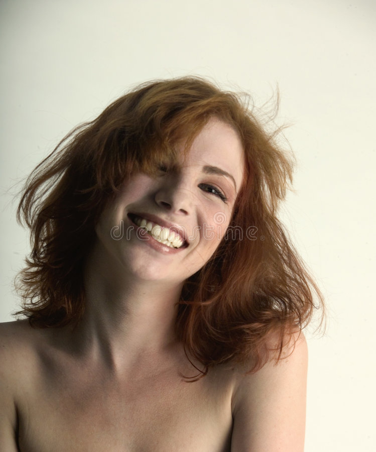 Laughing red head stock photography