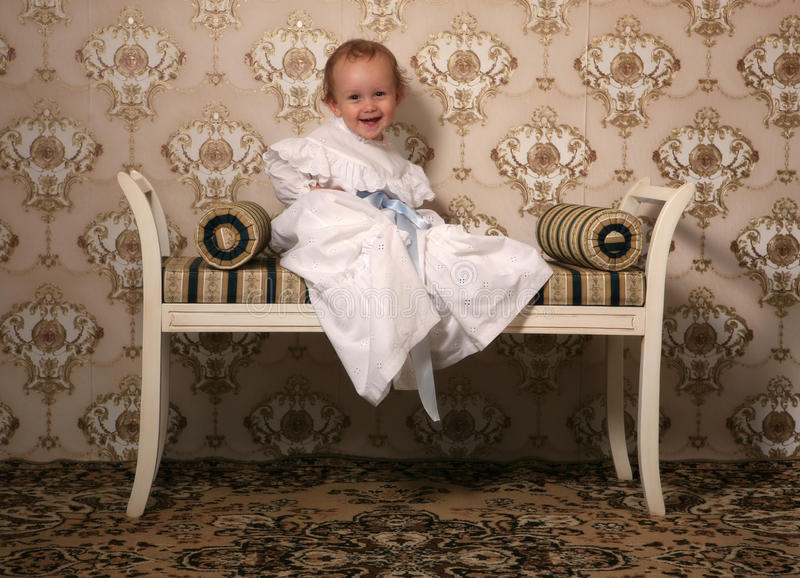 Laughing retro baby royalty free stock image