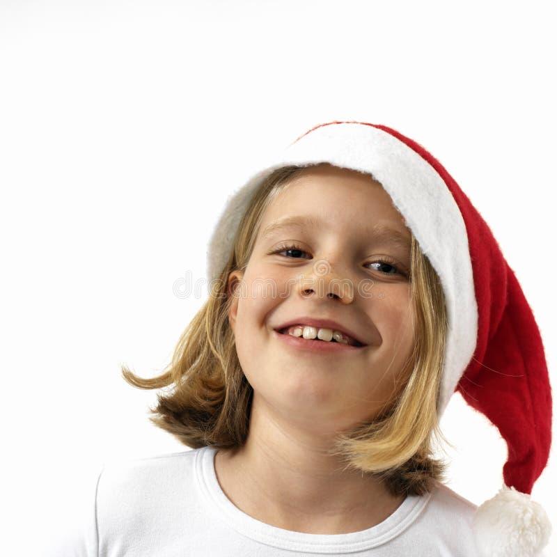 Laughing santa girl royalty free stock photo