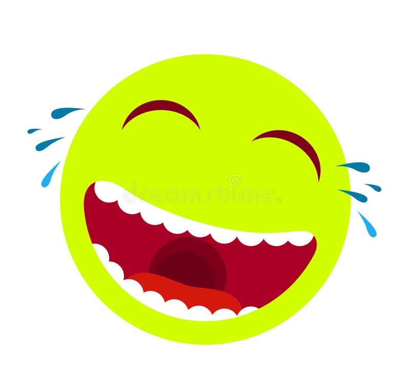 Laughing smiley emoticon vector. Cartoon happy face with laughing mouth and tears, emoticons cry or tear smile illustration. royalty free illustration