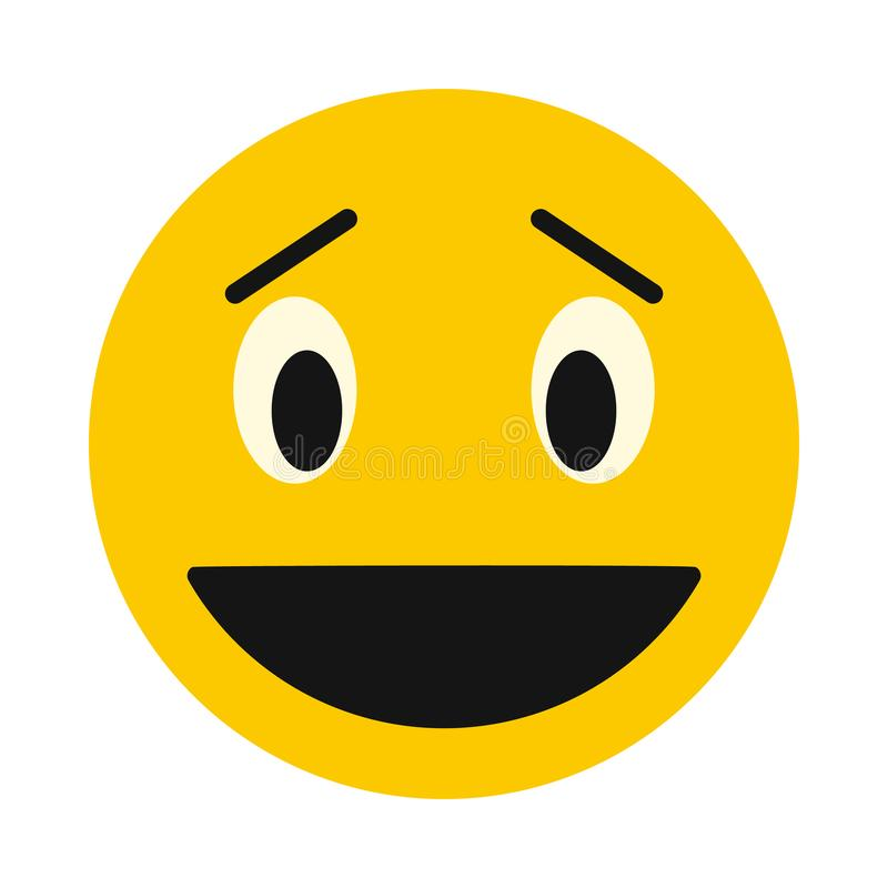 Laughing smiley face icon, flat style. Laughing smiley face icon in flat style isolated on white background. Facial expressions symbol royalty free illustration
