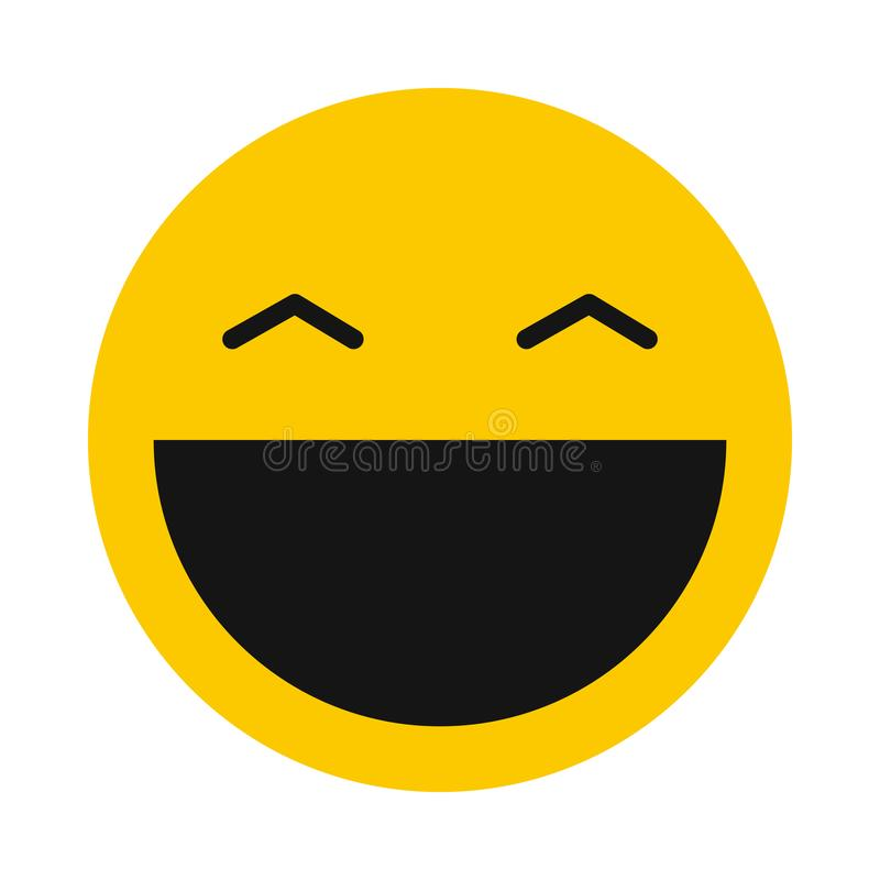 Laughing smiley icon, flat style. Laughing smiley icon in flat style isolated on white background. Facial expressions symbol royalty free illustration