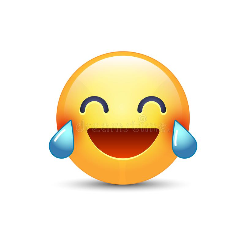 Free Laughing Smiley With Tears Of Joy. Happy Cartoon Emoticon. Emoji Face Laugh And Crying Stock Photo - 101757690