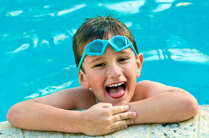 Laughing In The Swimming Pool Stock Photography