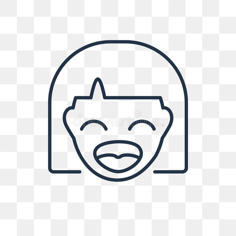 Laughing vector icon isolated on transparent background, linear royalty free illustration