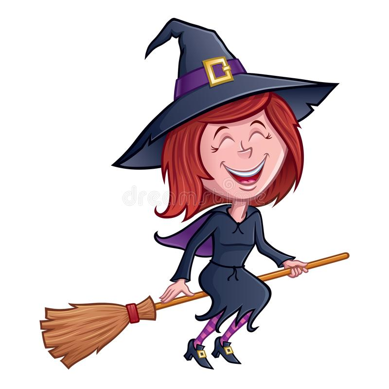 Laughing Witch Riding Her Broomstick vector illustration