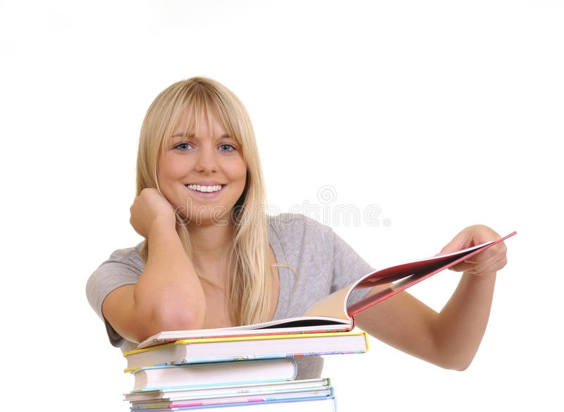 Download Laughing woman with books stock photo. Image of stack - 16088830