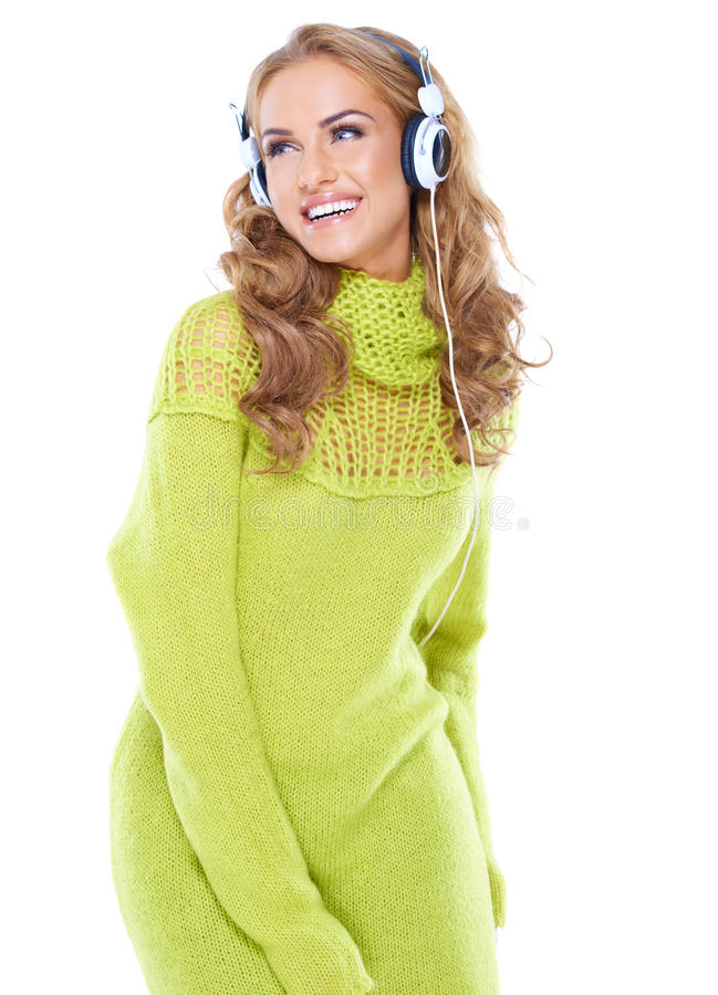 Download Laughing Woman Enjoying Her Music Stock Photo - Image: 28744294