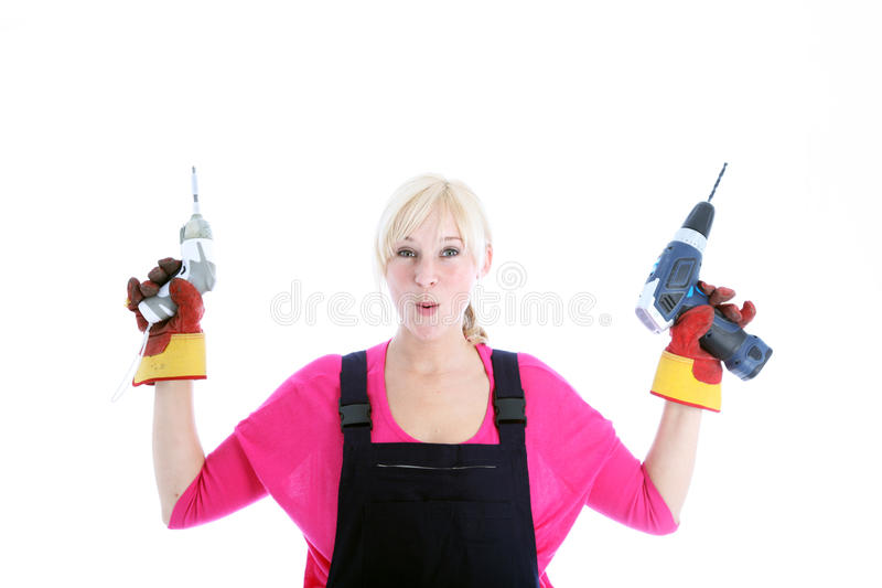 Download Laughing Woman Holding A Screwdriver And Drill Stock Image - Image: 26183135
