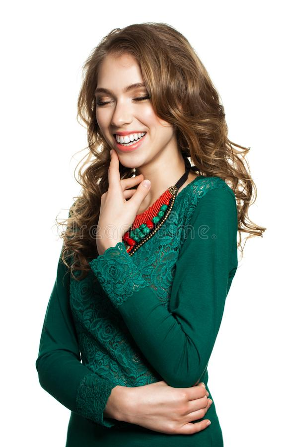 Laughing Woman Isolated on White. Beautiful Fashion Model stock photo