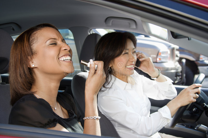 Download Laughing women in car. stock image. Image of adult, aged - 4997259