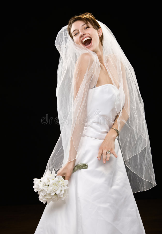 Laughing Young Bride In Wedding Dress And Veil Stock Image ...