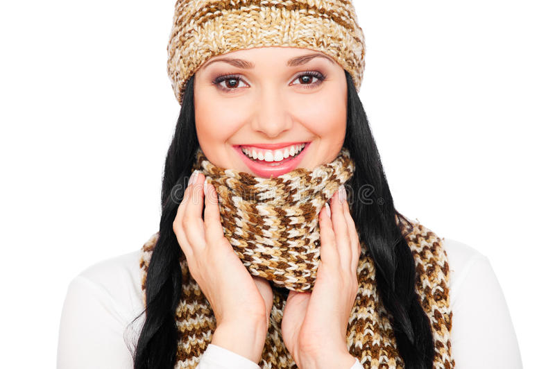 Laughing Young Woman In Hat And Scarf Stock Photos