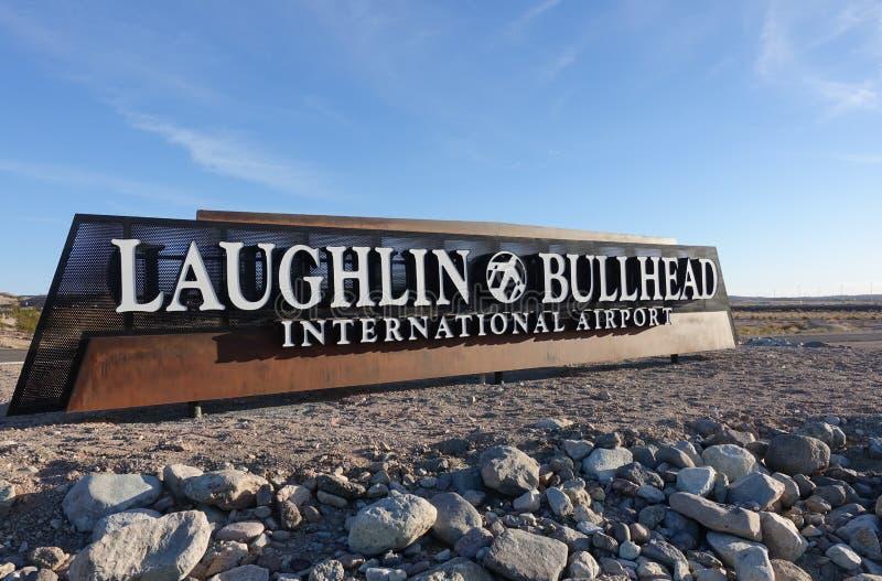 Laughlin, le Nevada et ville de chabot de rivière, aéroport international de l'Arizona photographie stock libre de droits
