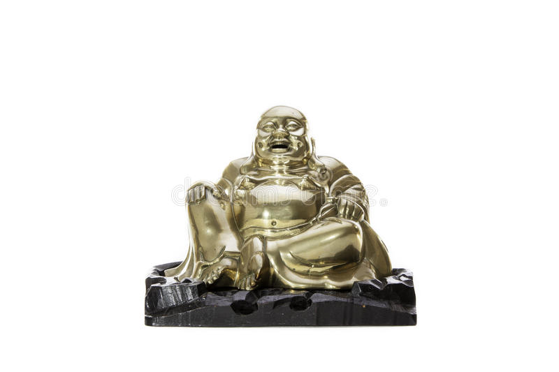 Laughter. Traditional brass laughing monk buddha. Traditional brass laughing monk buddha figurine. A figure of the Buddhist legend that is the laughing monk or royalty free stock photography