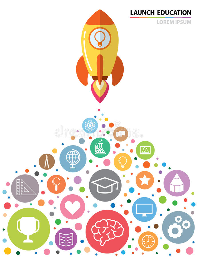 Launch Education. Launch rocket with education icon. Creative concept, Vector illustration. flat design. can be use for book cover, poster, flyer, brochure stock illustration