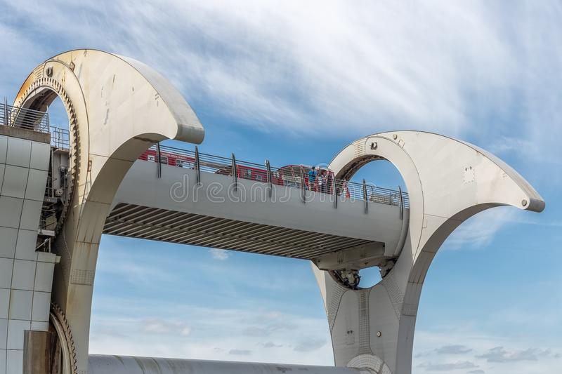 Launch in Falkirk Wheel, rotating boat lift in Scotland, stock photo