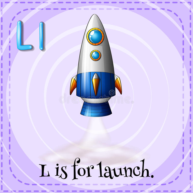 Launch. Flash card letter L is for launch royalty free illustration