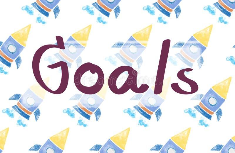 Launch Goals Startup Begin Target Concept stock illustration