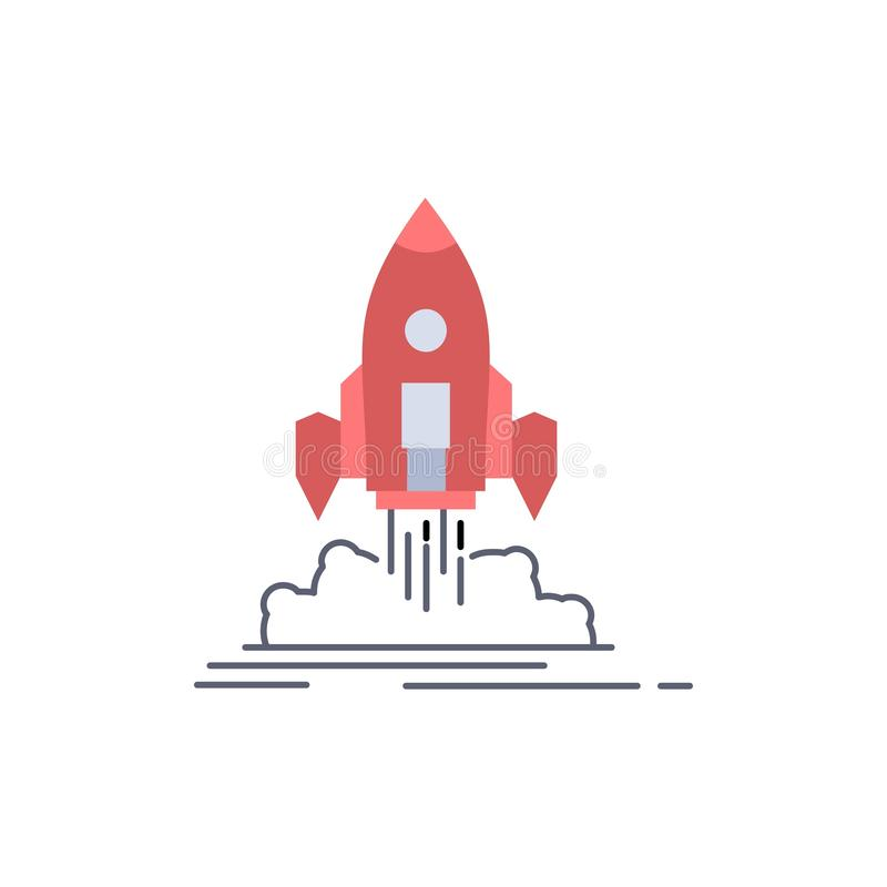Launch, mission, shuttle, startup, publish Flat Color Icon Vector vector illustration