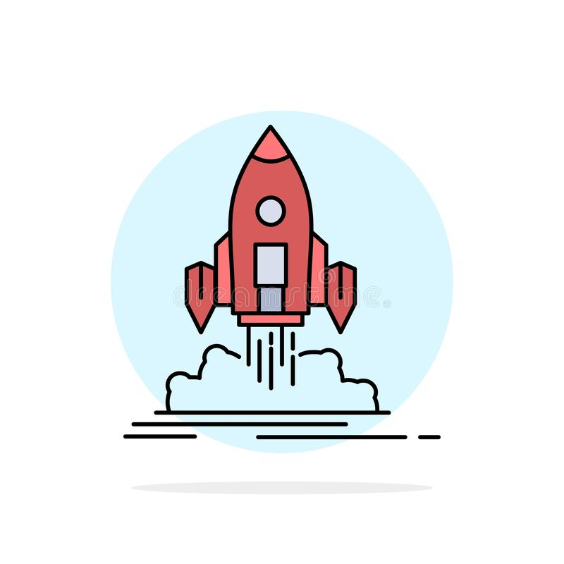 Launch, mission, shuttle, startup, publish Flat Color Icon Vector royalty free illustration