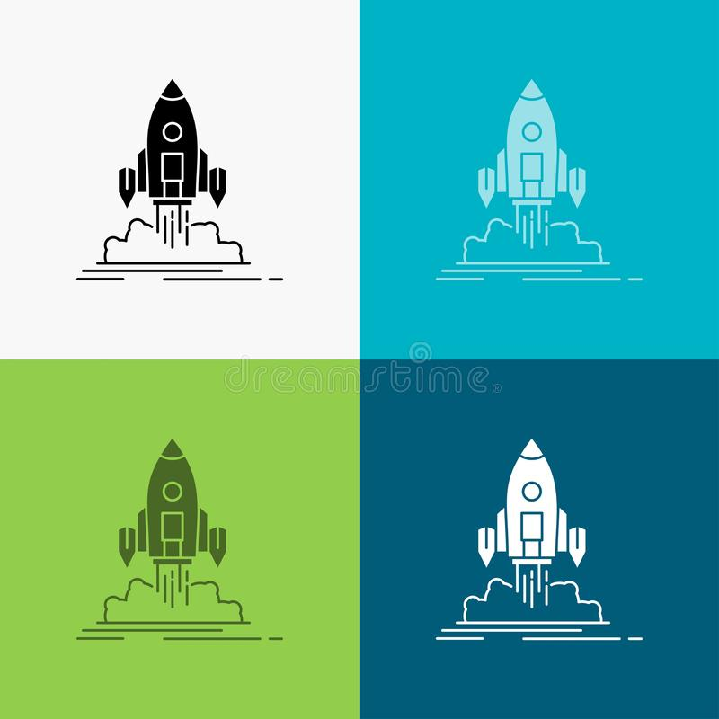 Launch, mission, shuttle, startup, publish Icon Over Various Background. glyph style design, designed for web and app. Eps 10 royalty free illustration