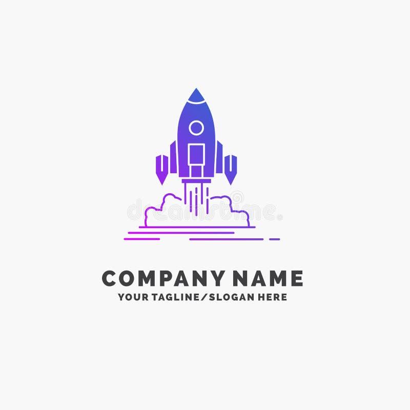 Launch, mission, shuttle, startup, publish Purple Business Logo Template. Place for Tagline vector illustration