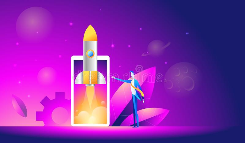 Launch of a mobile application is an isometric illustration. takeoff rocket or spacecraft over the mobile phone.  royalty free illustration