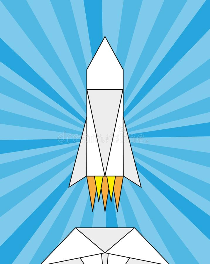 Launch of a paper rocket, origami royalty free illustration