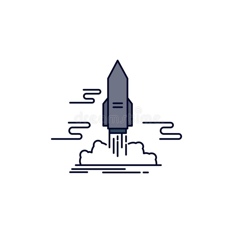 launch, Publish, App, shuttle, space Flat Color Icon Vector stock illustration