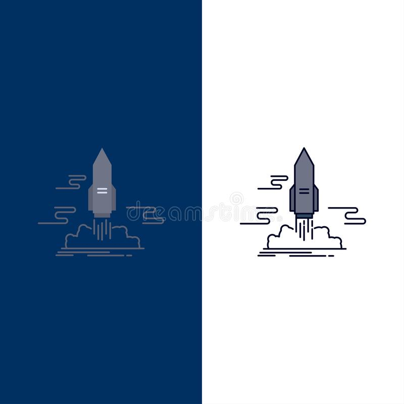 launch, Publish, App, shuttle, space Flat Color Icon Vector royalty free illustration