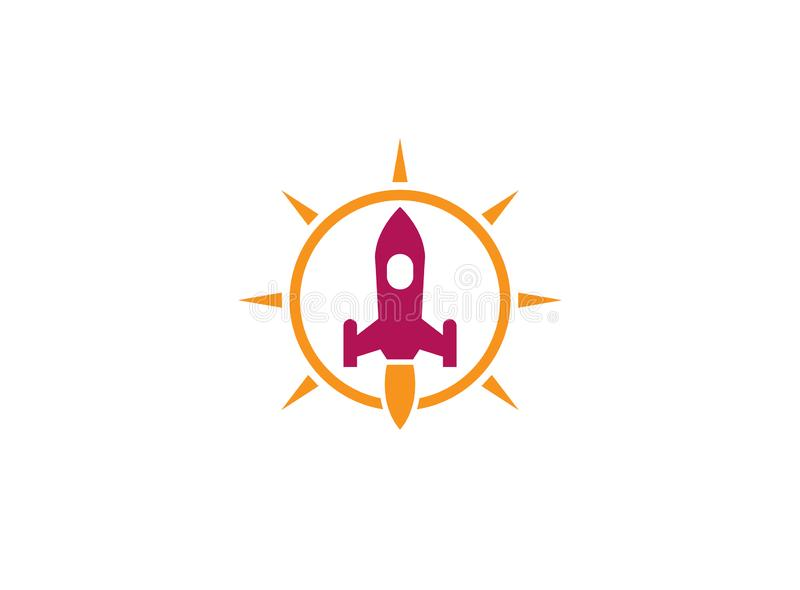 The launch of a rocket with a flame inside bright sun circle for logo design illustration royalty free illustration