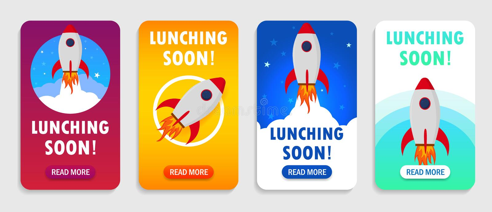 Launch rocket with launching soon interface for mobile app, smart phones. Startup rocket banner with launching soon.Shuttle in vector illustration