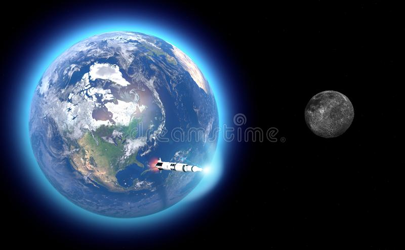 Launch of the Saturn V rocket towards the moon, the fiftieth anniversary of the moon landing. Apollo mission 11. Earth and moon in vector illustration