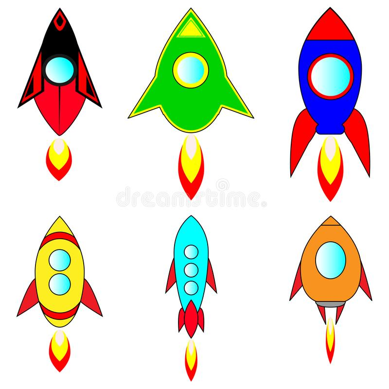 Launch of six beautiful rockets into space stock illustration