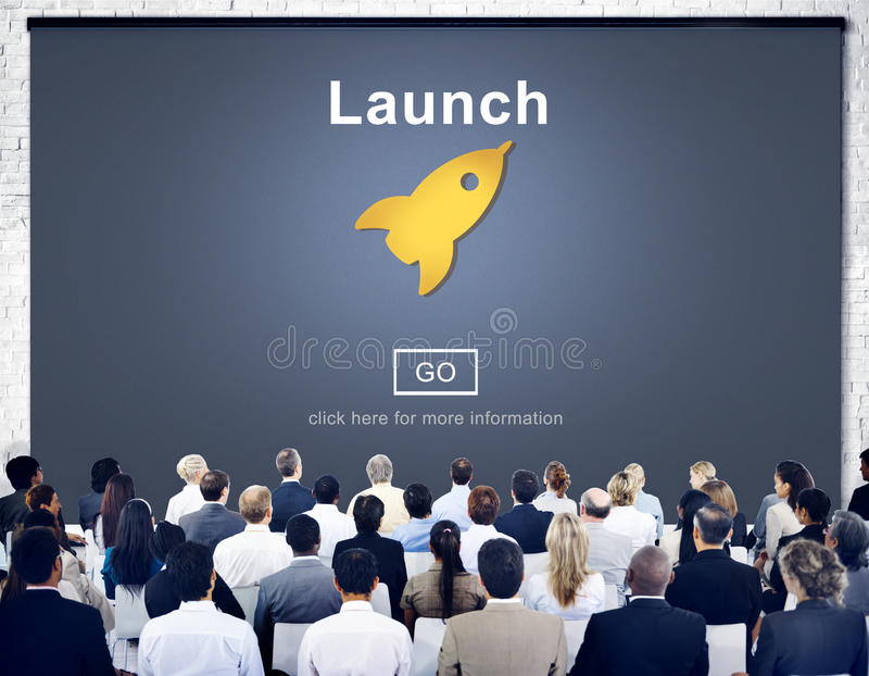 Launch Start Brand Introduce Rocket Ship Concept.  royalty free stock photography
