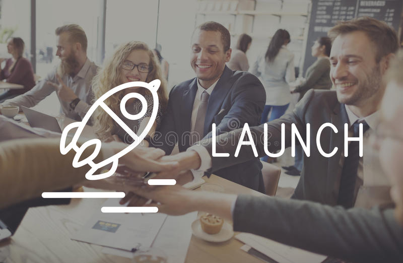 Launch Startup Business Success Release Concept stock image