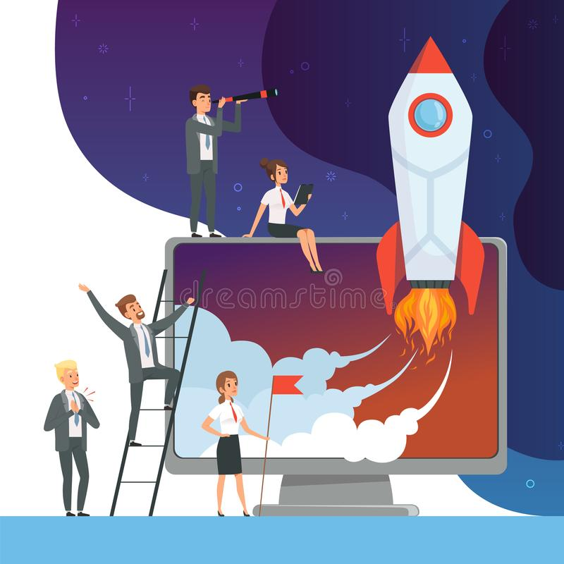 Launch startup concept. Business illustrations of office managers with rocket space new idea of web technology vector royalty free illustration