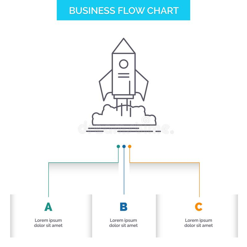 launch, startup, ship, shuttle, mission Business Flow Chart Design with 3 Steps. Line Icon For Presentation Background Template vector illustration