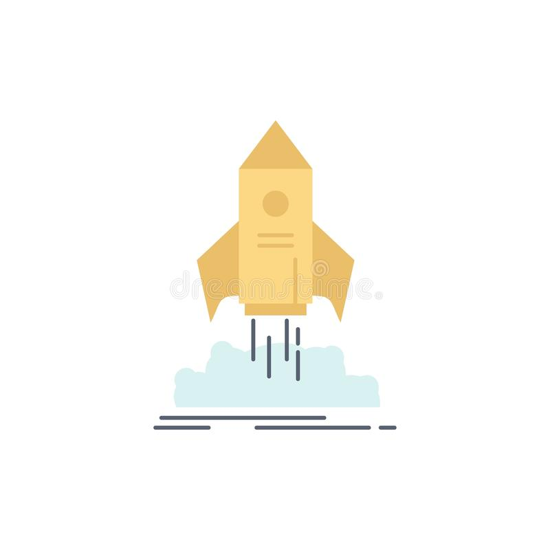 launch, startup, ship, shuttle, mission Flat Color Icon Vector vector illustration