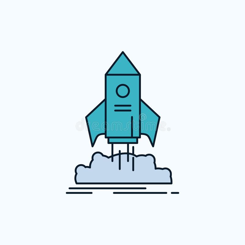 launch, startup, ship, shuttle, mission Flat Icon. green and Yellow sign and symbols for website and Mobile appliation. vector stock illustration