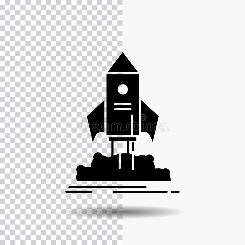 launch, startup, ship, shuttle, mission Glyph Icon on Transparent Background. Black Icon vector illustration