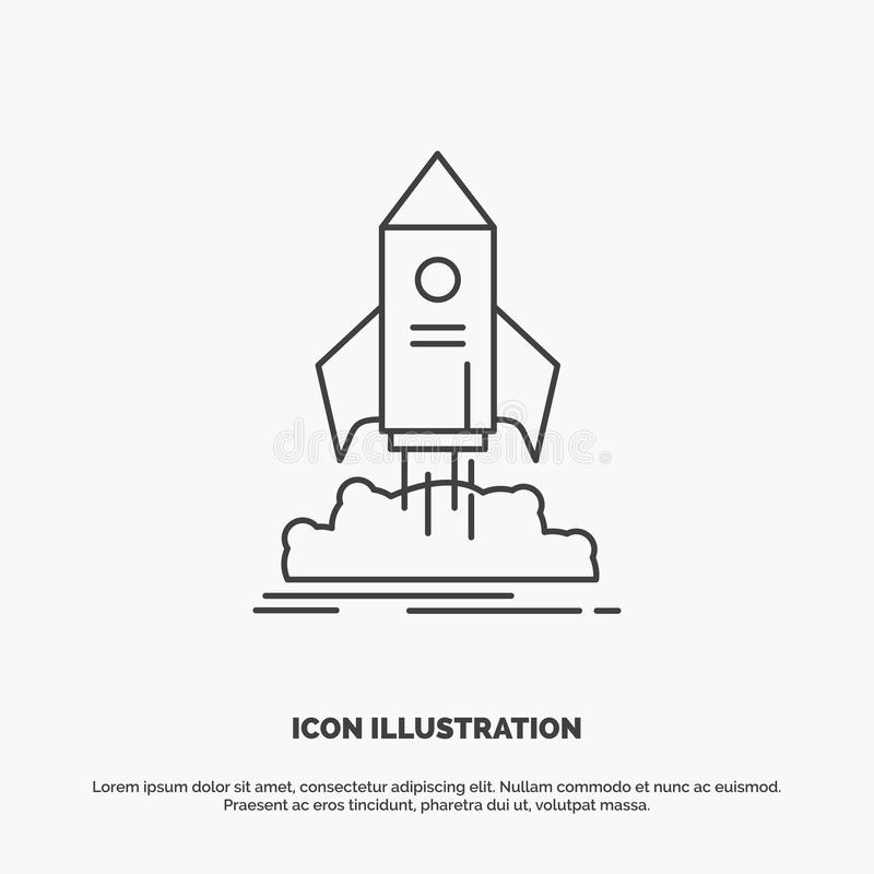 launch, startup, ship, shuttle, mission Icon. Line vector gray symbol for UI and UX, website or mobile application vector illustration